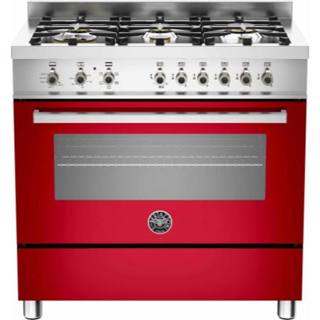 Bertazzoni PRO90-6-HYB-S-ROT Professional 90cm Dual Fuel Range Cooker With 6 Burners And A Dual Ener