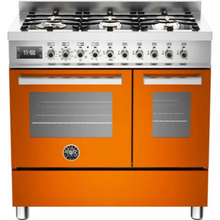 Bertazzoni PRO90-6-MFE-D-ART Professional Series 90cm Dual Fuel Range Cooker With A Double Oven-Oran