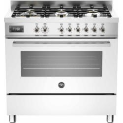 Bertazzoni PRO90-6-MFE-S-BIT Professional 90cm Dual Fuel Range Cooker With 6 Burners And One Oven Wh