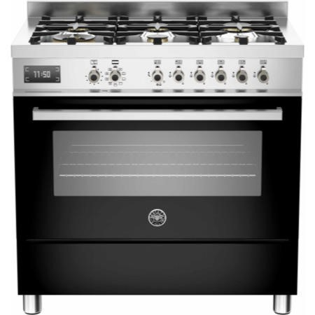 Bertazzoni PRO90-6-MFE-S-NET Professional Series 90cm Dual Fuel Range Cooker With A Single Oven-Blac