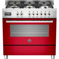 Bertazzoni PRO90-6-MFE-S-ROT Professional 90cm Dual Fuel Range Cooker With 6 Burners And One Oven Re