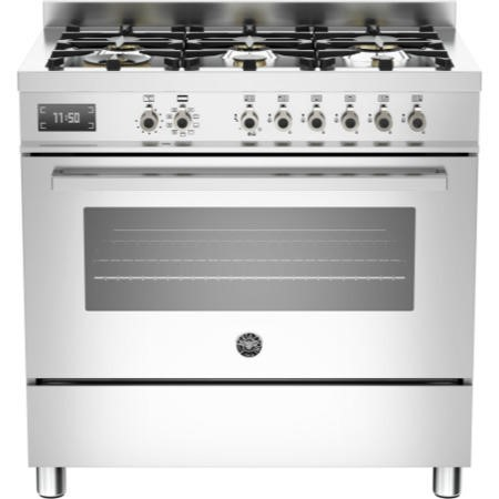 Bertazzoni PRO90-6-MFE-S-XT Professional Series 90cm Dual Fuel Range Cooker With A Single Oven-Stain