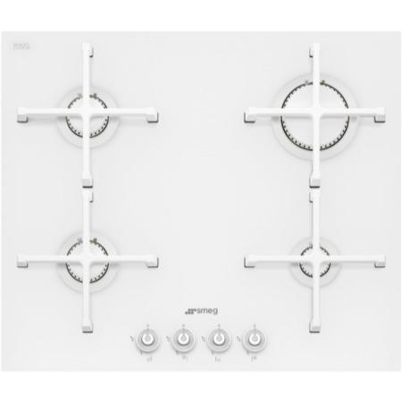 Smeg PV164CB Linea 60cm 4 Burner Gas-on-glass Hob With Straight Edge Glass - White