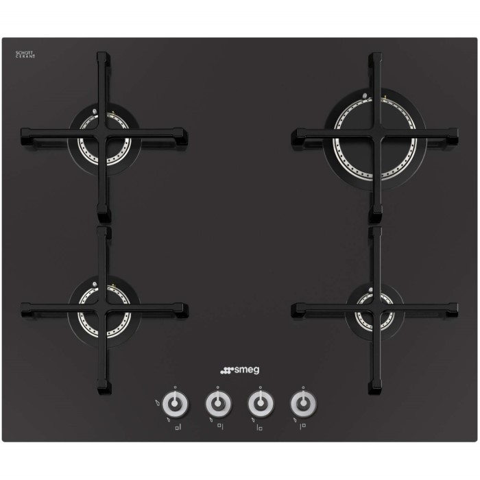 smeg pv164cn linea 60cm 4 burner gas on glass hob with straight edge glass black appliances. Black Bedroom Furniture Sets. Home Design Ideas