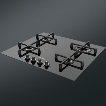 GRADE A1 - Smeg PV164CN Linea 60cm 4 Burner Gas-on-glass Hob With Straight Edge Glass - Black