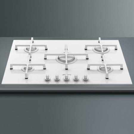 Smeg PV175CB Linea 74cm 5 Burner Gas-on-glass Hob With Straight Edge Glass - White