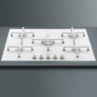 Smeg PV175CB Linea 74cm 5 Burner Gas-on-glass Hob With Straight Edge Glass - White