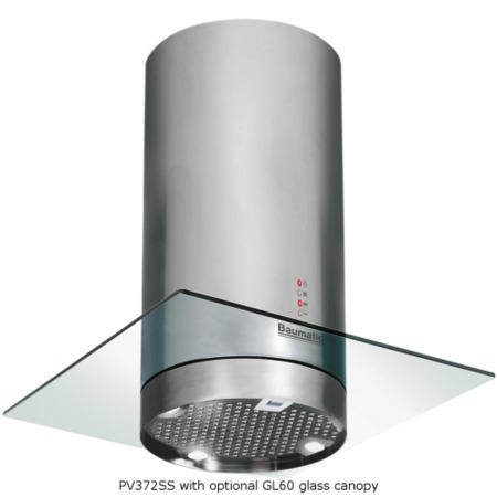 Baumatic PV372SS Pythagora 35cm Cylinder Island Cooker Hood Stainless Steel
