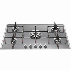 Smeg PVS750 Linea Ultra Low Profile 74cm Gas Hob Silver Glass
