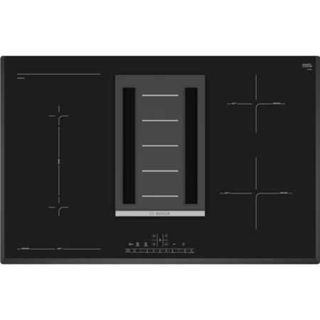 Bosch PVS851F21E Serie 6 80cm Four Zone Induction Hob With Built-in Extractor - Black