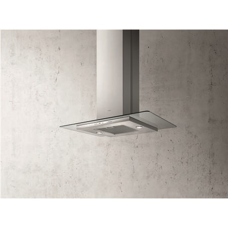 Elica QUARTZ-HE-ISL High Efficiency 90cm Island Cooker Hood Stainless Steel With Flat Glass Canopy