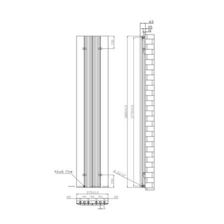 Vertical Anthracite Tall Flat Radiator - 1800 x 385mm