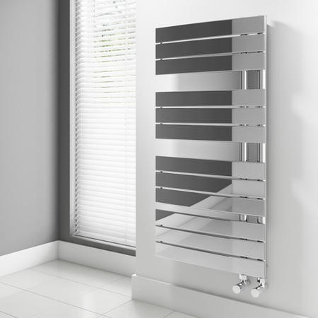 Chrome Vertical Bathroom Towel Flat Radiator - 1080 x 550mm