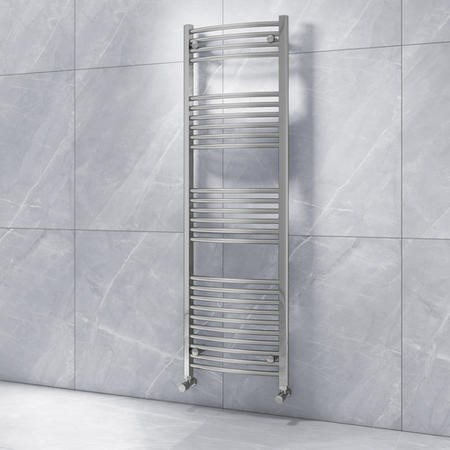 Curved Chrome Vertical Bathroom Towel Radiator - 1600 x 500mm
