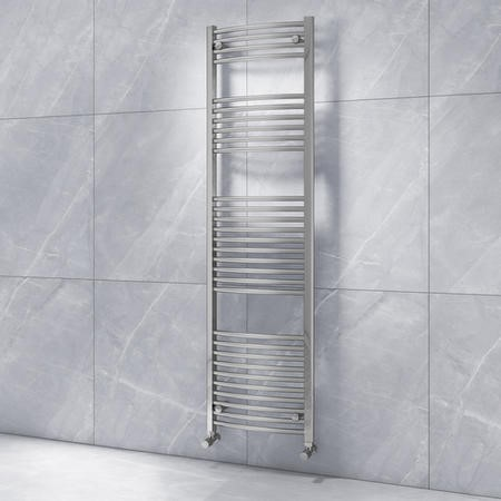 Curved Chrome Vertical Bathroom Towel Radiator - 1800 x 500mm