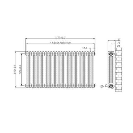 White 3 Column Horizontal Radiator - 600 x 1177mm - 5320 BTU's