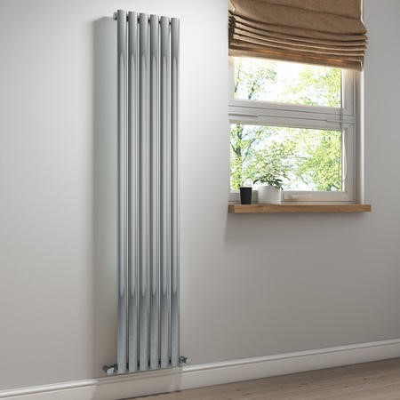 Chrome Vertical Tall Radiator - 1800 x 360mm