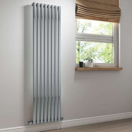Chrome Vertical Tall Radiator - 1800 x 480mm
