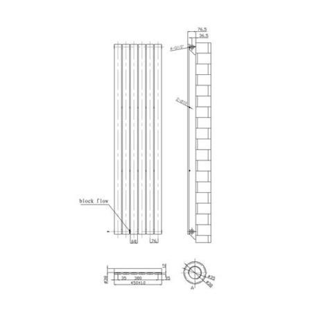 Vertical Chrome Tall Radiator with Flat Panels - 1800 x 450mm