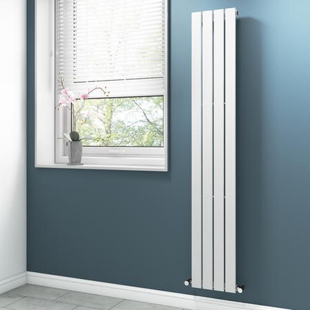 White Vertical Bathroom Radiator with Flat Panels - 1800 x 300mm