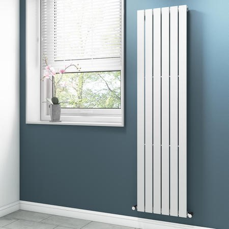 White Vertical Tall Radiator with Flat Panels - 1800 x 450mm