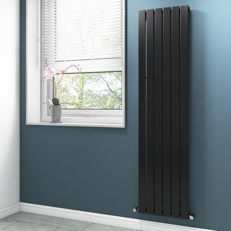 Anthracite Vertical Bathroom Radiator with Flat Panels - 1800 x 450mm