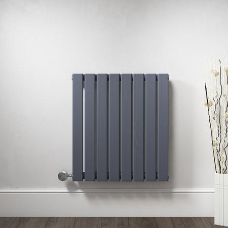 Horizontal Anthracite Flat Panel Radiator - 600 x 600mm