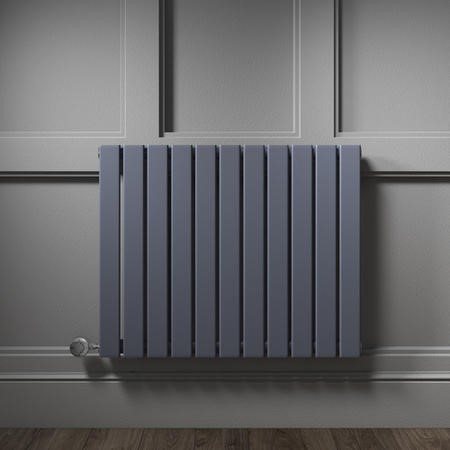 Horizontal Anthracite Flat Panel Radiator - 600 x 836mm