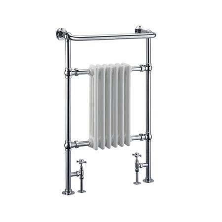 White Chrome Traditional Wall Hung Towel Radiator - 963 x 583 x 230mm