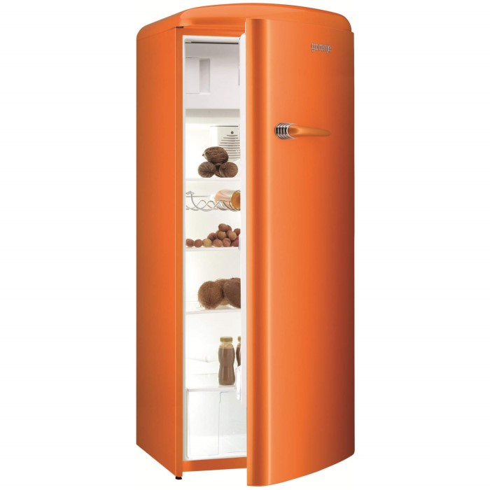 gorenje rb60299oo retro style right hand hinge freestanding fridge with ice box juicy orange. Black Bedroom Furniture Sets. Home Design Ideas