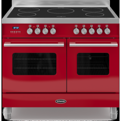Britannia RC-10TI-DE-RED Delphi Twin Oven 100cm Electric Range Cooker With Induction Hob - Gloss Red