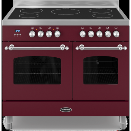 Britannia RC-10TI-FL-BUR Fleet Twin Oven 100cm Electric Range Cooker With Induction Hob - Matt Burgundy