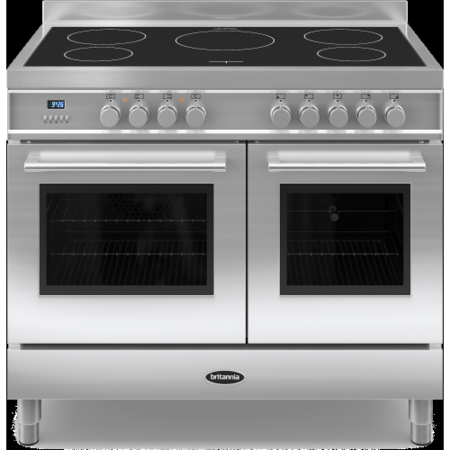 Britannia Q Line Twin Oven 100cm Electric Range Cooker With Induction Hob - Stainless Steel