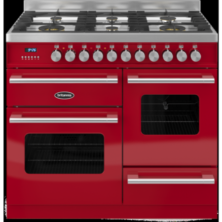 Britannia RC-10XGG-DE-RED Delphi XG 100cm Dual Fuel Range Cooker - Gloss Red