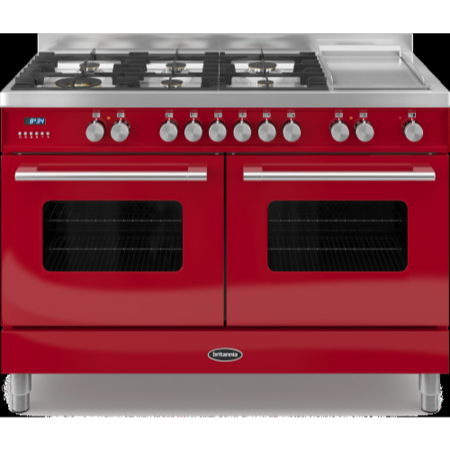 Britannia RC-12TG-DE-RED Delphi Twin Oven 120cm Dual Fuel Range Cooker - Gloss Red