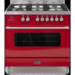 RC-9SG-DE-RED Britannia RC-9SG-DE-RED Delphi Single Oven 90cm Dual Fuel Range Cooker - Gloss Red
