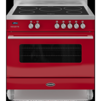Britannia RC-9SI-DE-RED Delphi Single Oven 90cm Electric Range Cooker With Induction Hob - Gloss Red