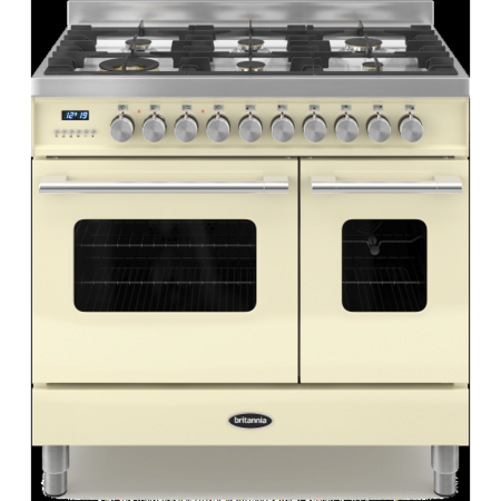 Britannia RC-9TG-DE-CR Delphi Twin Oven 90cm Dual Fuel Range Cooker - Gloss Cream