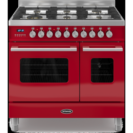 Britannia RC-9TG-DE-RED Delphi Twin Oven 90cm Dual Fuel Range Cooker - Gloss Red