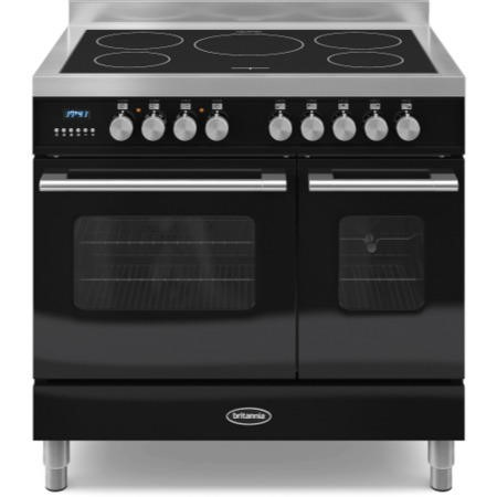 Britannia RC-9TI-DE-K Delphi Twin Oven 90cm Electric Range Cooker With Induction Hob - Gloss Black