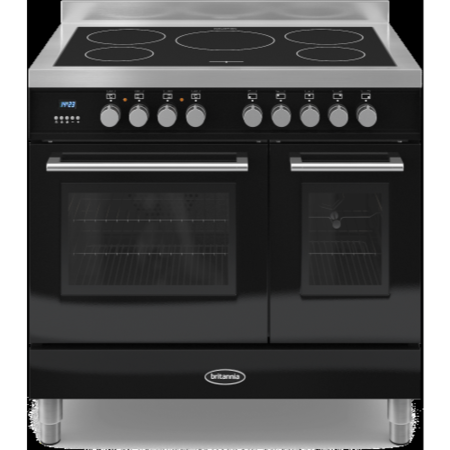 Britannia RC-9TI-QL-K Q Line Twin Oven 90cm Electric Range Cooker With Induction Hob - Gloss Black
