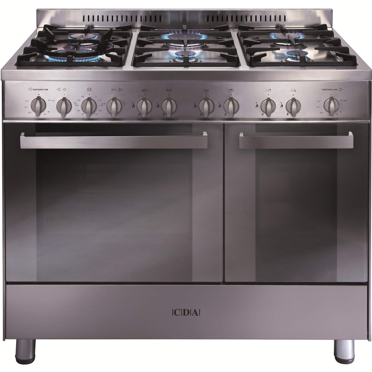 cda rc9322ss 90cm wide double oven gas range cooker stainless steel - Double Oven Gas Range
