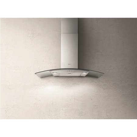 Elica REEF-90 Reef 90cm Cooker Hood With Curved Glass Canopy - Stainless Steel