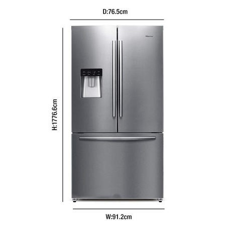 Hisense RF697N4ZS1 American Style French Door Freestanding Fridge Freezer With Stored Water Dispenser Stainless Steel