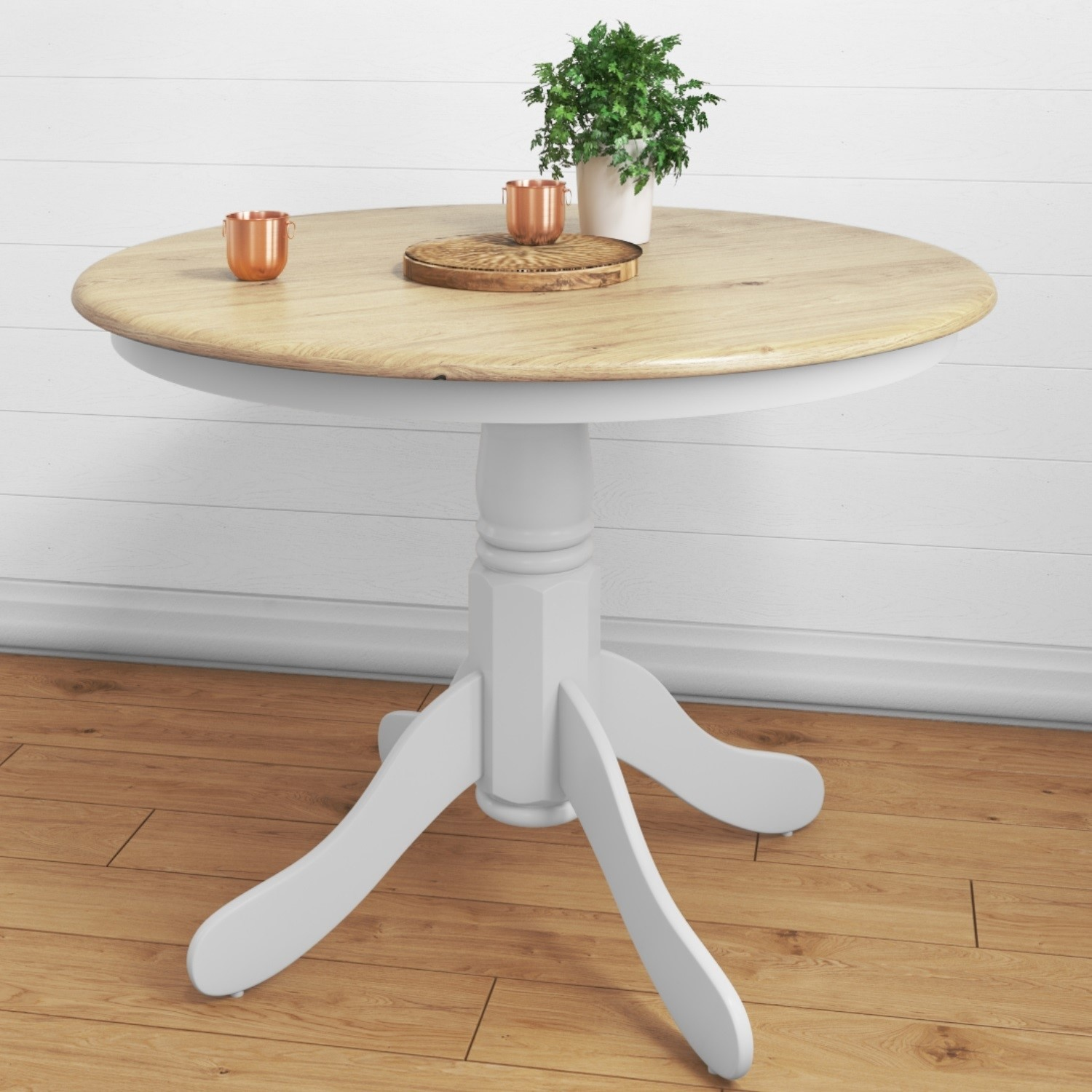 gorgeous round white wooden dining table