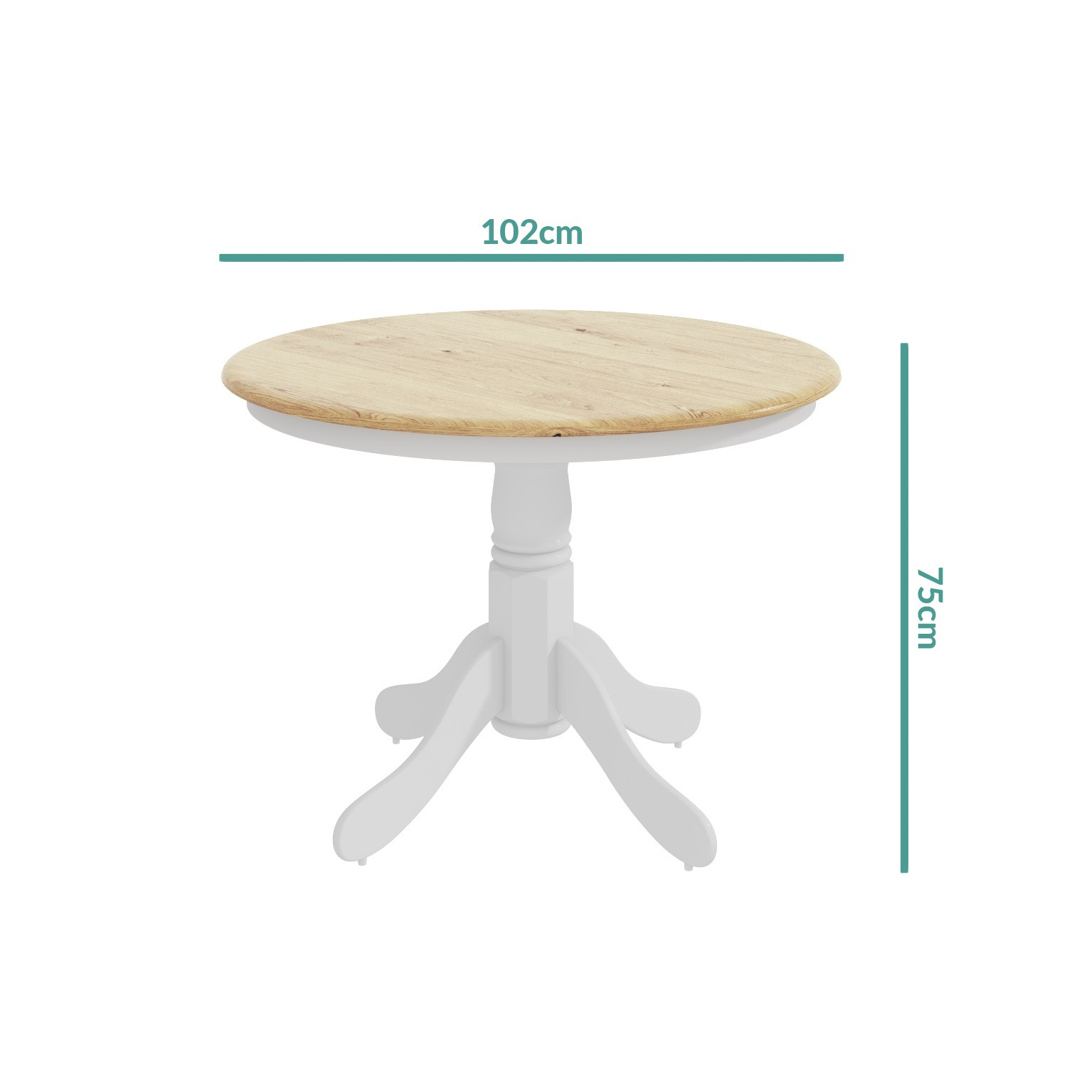 Wood Round Dining Table: Round Wooden Dining Table In White/Natural