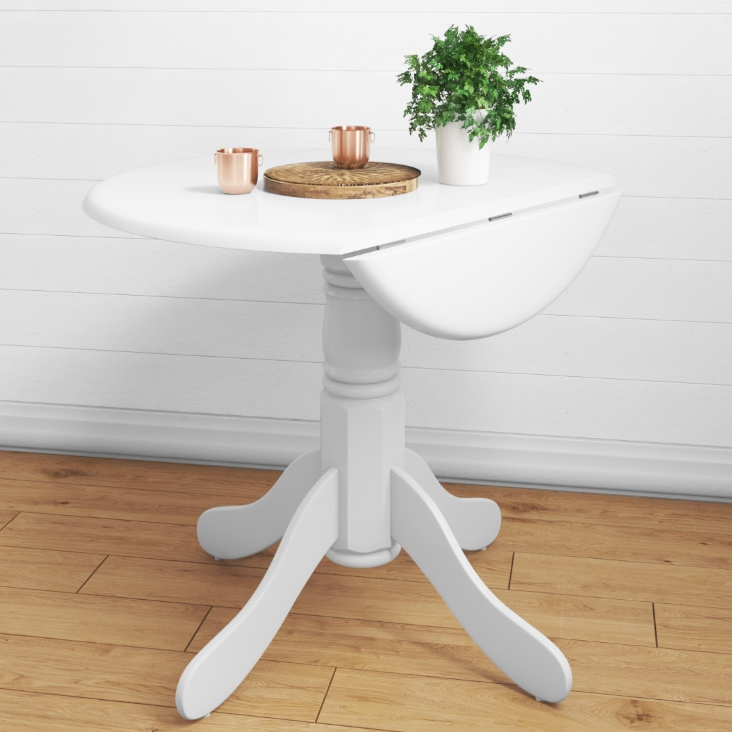 Drop Leaf Table Dining: Drop Leaf 4 Seater Round Dining Table In White
