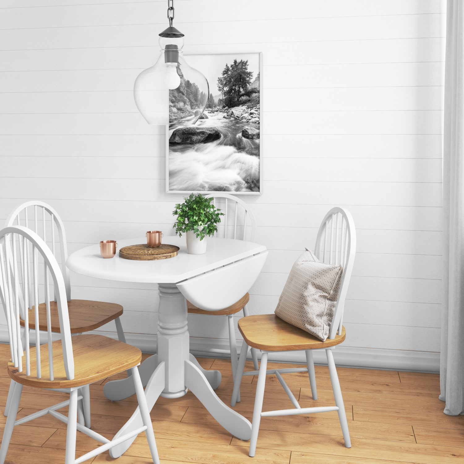 Drop Leaf 4 Seater Round Dining Table in White - 4 Seater ...