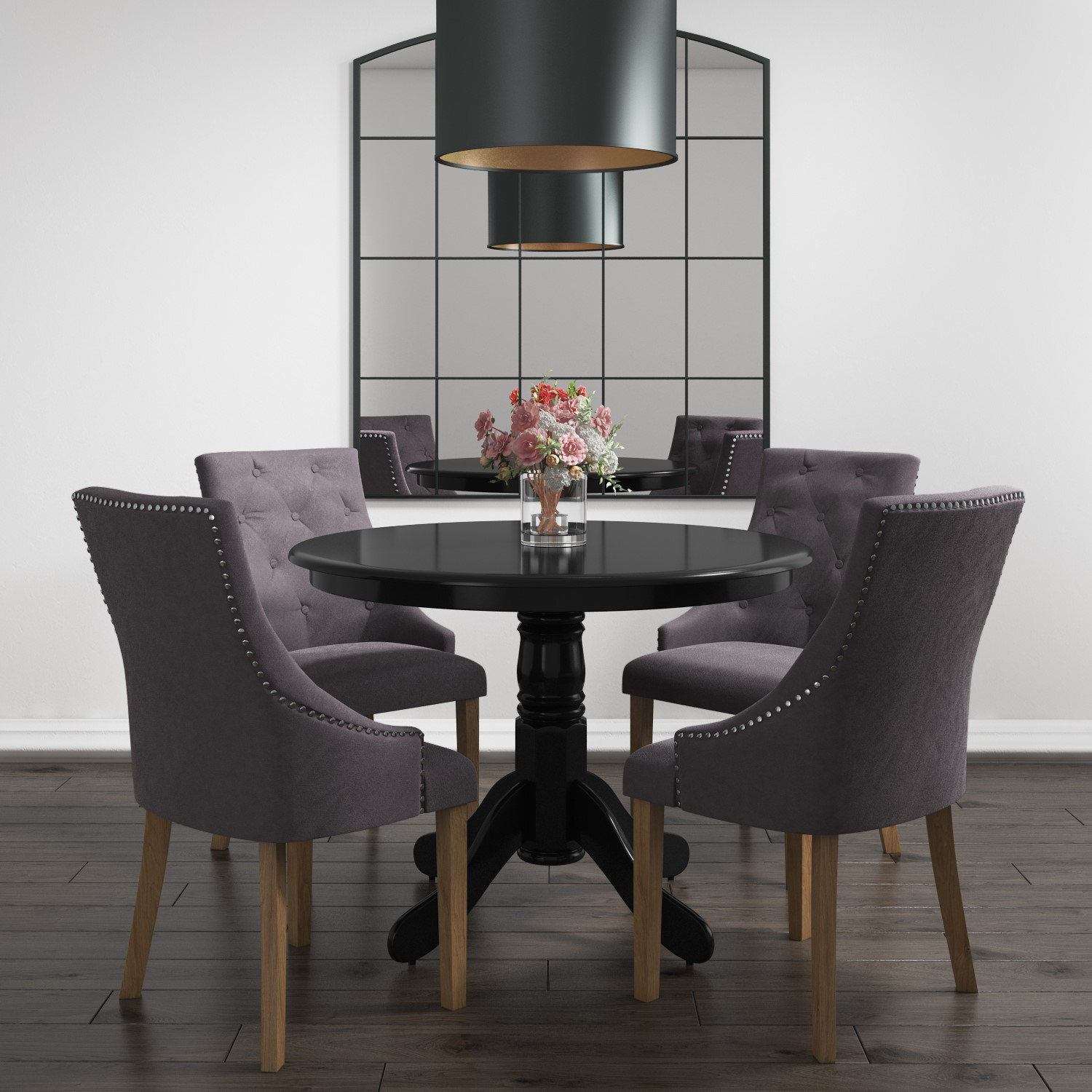 Round Dining Room Table Seats 12: Round Dining Table In Black - 4 Seater 5056096014556