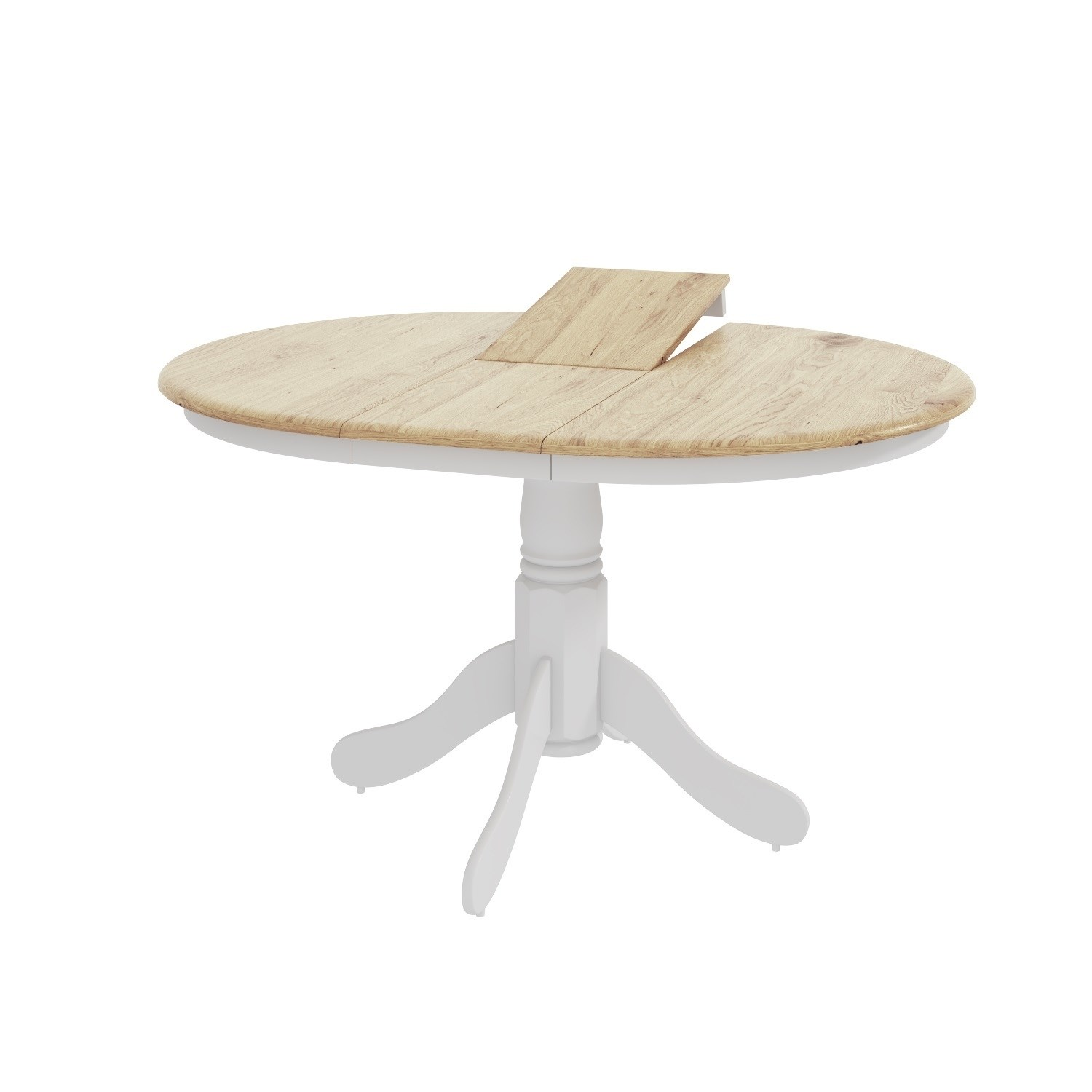 6 Seater Round Dining Table: Extendable Round Wooden Dining Table In White/Natural